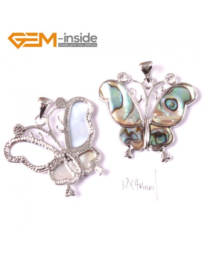 G3659 37x40mm Butterfly Natural  Abalone Shell Beads Pendant 1 Pcs Pendants for Fashion Jewelry Jewellery