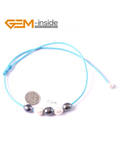 "G3672  9-10mm White Black Freshwater Pearls Blue Rope Necklace 17.5"" Pearl Necklaces Fashion Jewelry Jewellery for Women"