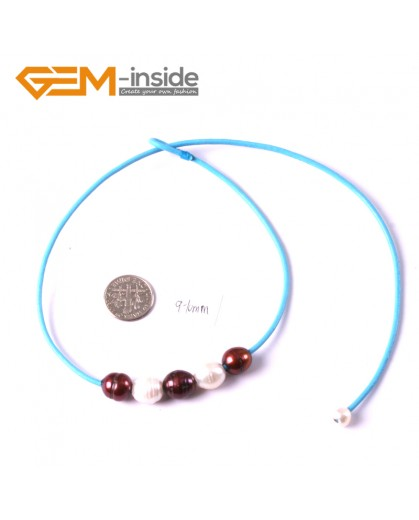 "G3673 9-10mm White Brown Freshwater Pearls Blue Rope Necklace 17.5"" Pearl Necklaces Fashion Jewelry Jewellery for Women"