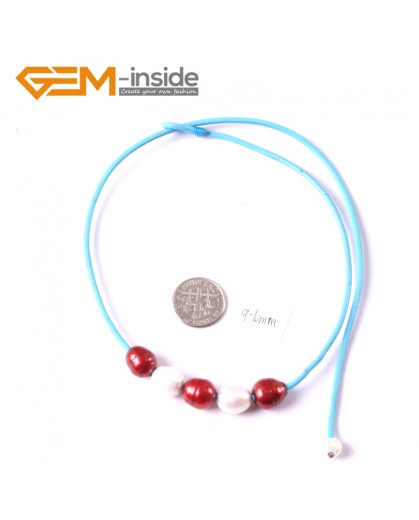 """G3674 9-10mm White Red  5 Freshwater Pearls Blue Rope Necklace 17.5"""" Pearl Necklaces Fashion Jewelry Jewellery for Women"""