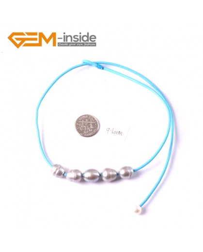 "G3676 9-10mm Gray 5  Freshwater Pearls Blue Rope Necklace 17.5"" Pearl Necklaces Fashion Jewelry Jewellery for Women"