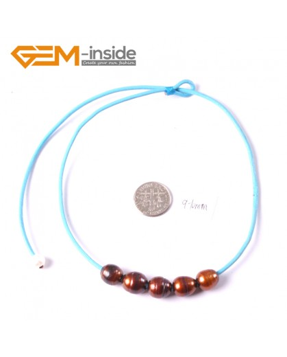 """G3678 9-10mm Brown 5 Freshwater Pearls Blue Rope Necklace 17.5"""" Pearl Necklaces Fashion Jewelry Jewellery for Women"""