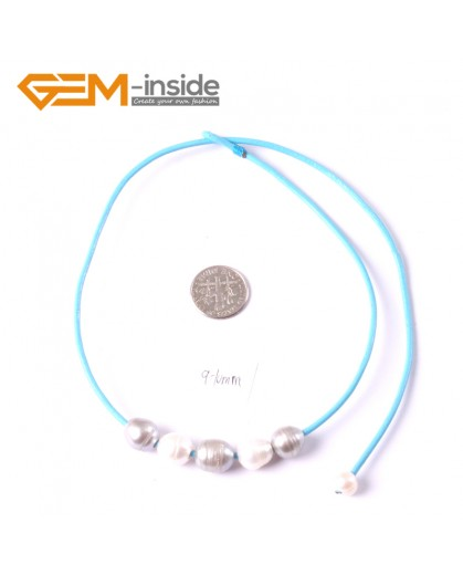 """G3680 9-10mm White Gray 5 Freshwater Pearls Blue Rope Necklace 17.5"""" Pearl Necklaces Fashion Jewelry Jewellery for Women"""