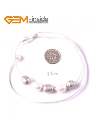 """G3681 9-10mm White Gray 5 Freshwater Pearls White Rope Necklace 17.5"""" Pearl Necklaces Fashion Jewelry Jewellery for Women"""
