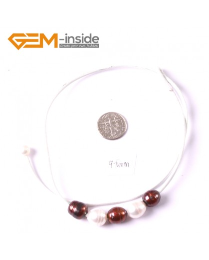 """G3682 9-10mm White Brown 5 Freshwater Pearls White Rope Necklace 17.5"""" Pearl Necklaces Fashion Jewelry Jewellery for Women"""