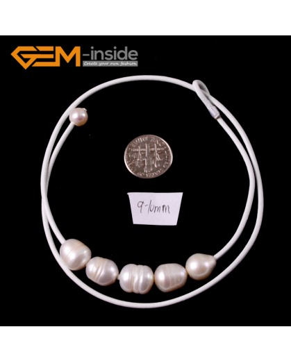 """G3683 9-10mm White 5 Freshwater Pearls White Rope Necklace 17.5"""" Pearl Necklaces Fashion Jewelry Jewellery for Women"""