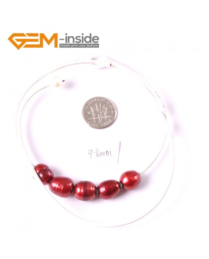 """G3685 9-10mm Red 5 Freshwater Pearls White Rope Necklace 17.5"""" Pearl Necklaces Fashion Jewelry Jewellery for Women"""