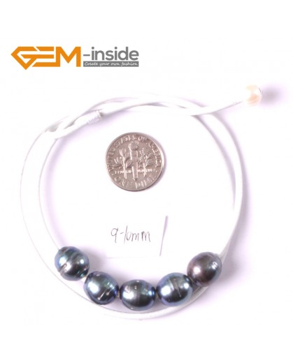 """G3686 9-10mm Black 5 Freshwater Pearls White Rope Necklace 17.5"""" Pearl Necklaces Fashion Jewelry Jewellery for Women"""