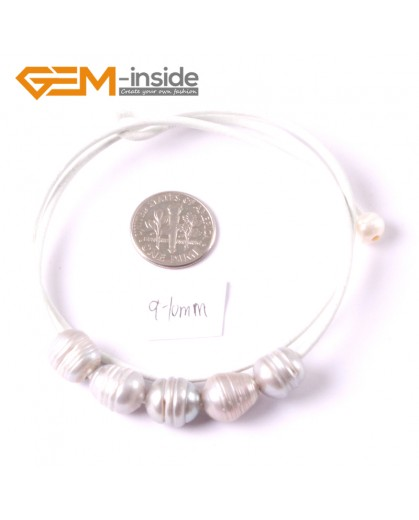 """G3689  9-10mm Gray 5 Freshwater Pearls White Rope Necklace 17.5"""" Pearl Necklaces Fashion Jewelry Jewellery for Women"""