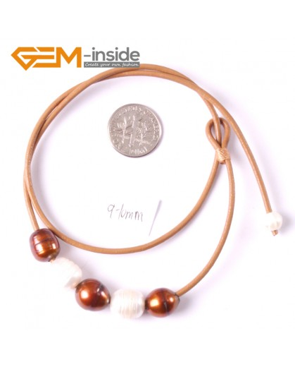 """G3690 9-10mm White Brown 5 Freshwater Pearls Brown Rope Necklace 17.5"""" Pearl Necklaces Fashion Jewelry Jewellery for Women"""