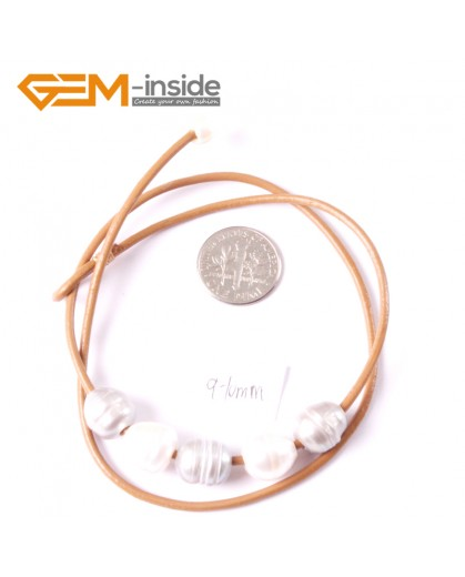 """G3691 9-10mm White Gray 5 Freshwater Pearls Brown Rope Necklace 17.5"""" Pearl Necklaces Fashion Jewelry Jewellery for Women"""