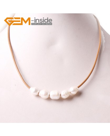 """G3693 9-10mm White 5  Freshwater Pearls Brown Rope Necklace 17.5"""" Pearl Necklaces Fashion Jewelry Jewellery for Women"""