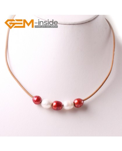 """G3694 9-10mm White Red 5  Freshwater Pearls Brown Rope Necklace 17.5"""" Pearl Necklaces Fashion Jewelry Jewellery for Women"""