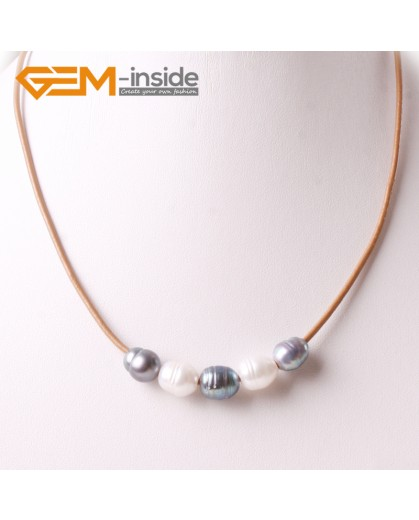 """G3695 9-10mm White Black 5 Freshwater Pearls Brown Rope Necklace 17.5"""" Pearl Necklaces Fashion Jewelry Jewellery for Women"""