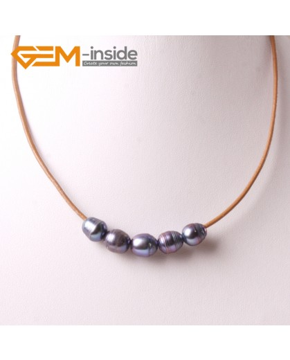 """G3696 9-10mm Black 5 Freshwater Pearls Brown Rope Necklace 17.5"""" Pearl Necklaces Fashion Jewelry Jewellery for Women"""