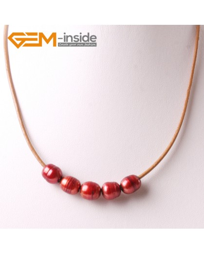 """G3697 9-10mm Red 5 Freshwater Pearls Brown Rope Necklace 17.5"""" Pearl Necklaces Fashion Jewelry Jewellery for Women"""