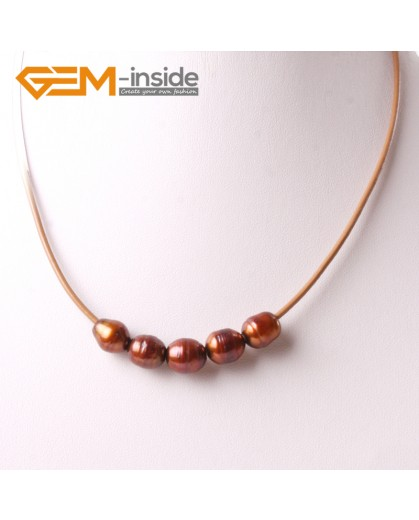 """G3698 9-10mm Brown 5 Freshwater Pearls Brown Rope Necklace 17.5"""" Pearl Necklaces Fashion Jewelry Jewellery for Women"""