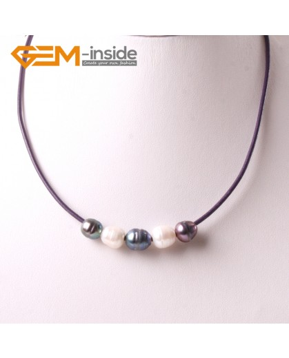 """G3699 9-10mm White Black Freshwater Pearls Black Rope Necklace 17.5"""" Pearl Necklaces Fashion Jewelry Jewellery for Women"""