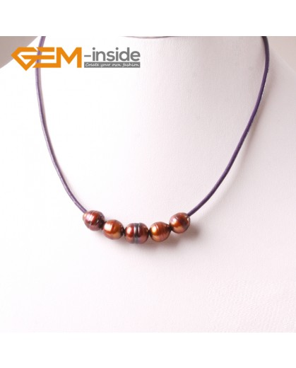 """G3701 9-10mm Brown Freshwater Pearls Black Rope Necklace 17.5"""" Pearl Necklaces Fashion Jewelry Jewellery for Women"""