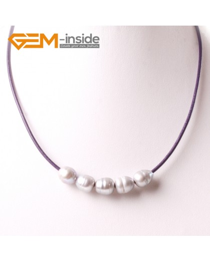 "G3702 9-10mm Gray Freshwater Pearls Black Rope Necklace 17.5"" Pearl Necklaces Fashion Jewelry Jewellery for Women"