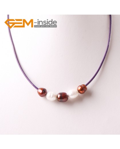 "G3703 9-10mm White Brown Freshwater Pearls Black Rope Necklace 17.5"" Pearl Necklaces Fashion Jewelry Jewellery for Women"