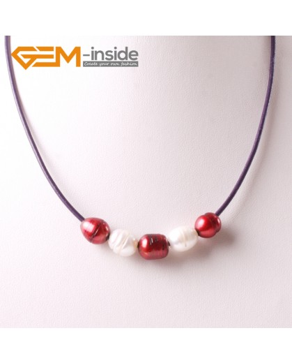 "G3704 9-10mm White Red Freshwater Pearls Black Rope Necklace 17.5"" Pearl Necklaces Fashion Jewelry Jewellery for Women"