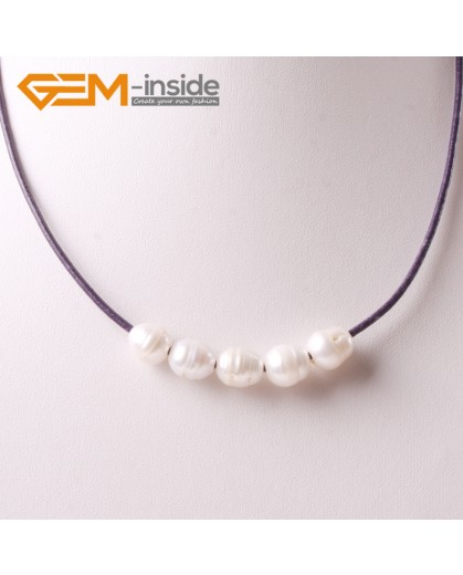 """G3706 9-10mm White Freshwater Pearls Black Rope Necklace 17.5"""" Pearl Necklaces Fashion Jewelry Jewellery for Women"""