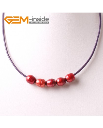 "G3707 9-10mm Red Freshwater Pearls Black Rope Necklace 17.5"" Pearl Necklaces Fashion Jewelry Jewellery for Women"