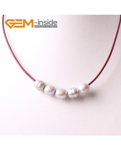 """G3710 9-10mm Gray 5 Freshwater Pearls Red Rope Necklace 17.5"""" Pearl Necklaces Fashion Jewelry Jewellery for Women"""