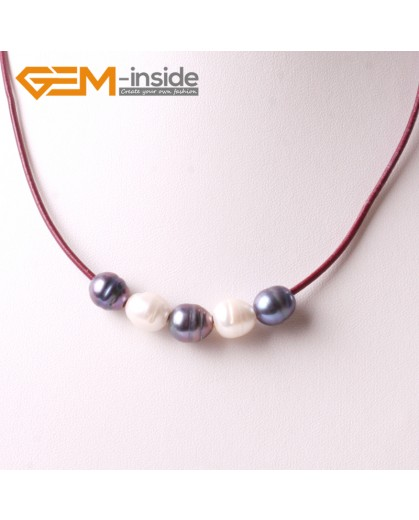 """G3712  9-10mm White Black 5 Freshwater Pearls Red Rope Necklace 17.5"""" Pearl Necklaces Fashion Jewelry Jewellery for Women"""