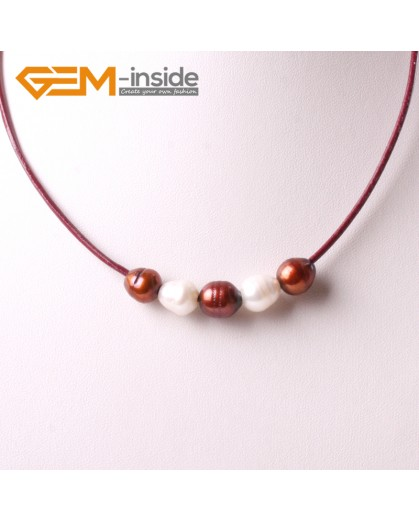 """G3713 9-10mm White 5 Freshwater Pearls Red Rope Necklace 17.5"""" Pearl Necklaces Fashion Jewelry Jewellery for Women"""