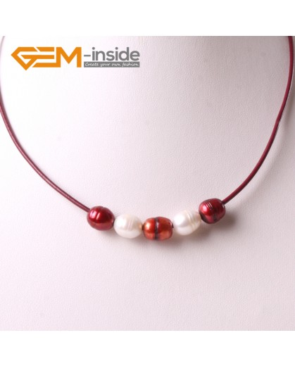 "G3714 9-10mm White Red 5 Freshwater Pearls Red Rope Necklace 17.5"" Pearl Necklaces Fashion Jewelry Jewellery for Women"