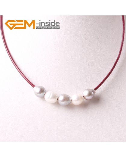 "G3716 9-10mm White Gray 5 Freshwater Pearls Red Rope Necklace 17.5"" Pearl Necklaces Fashion Jewelry Jewellery for Women"