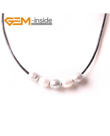"G3717 9-10mmFashion Jewelry Lack Rope Necklace 5 Pearls Strand 17.5"" Adjustable Size Necklaces Fashion Jewelry Jewellery"