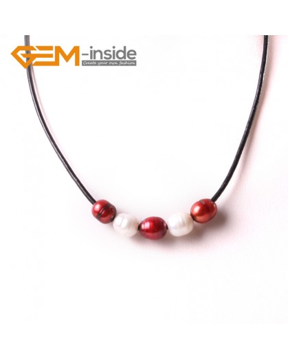 "G3718 9-10mm Fashion Jewelry Lack Rope Necklace 5 Pearls Strand 17.5""Adjustable Size Pearl Necklaces Fashion Jewelry Jewellery"