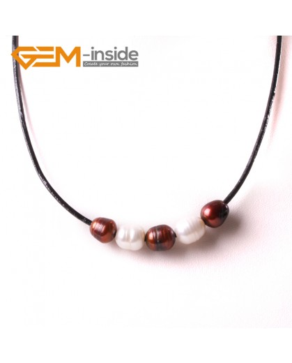 "G3719 9-10mmFashion Jewelry Lack Rope Necklace 5 Pearls Strand 17.5"" Adjustable Size Necklaces Fashion Jewelry Jewellery"