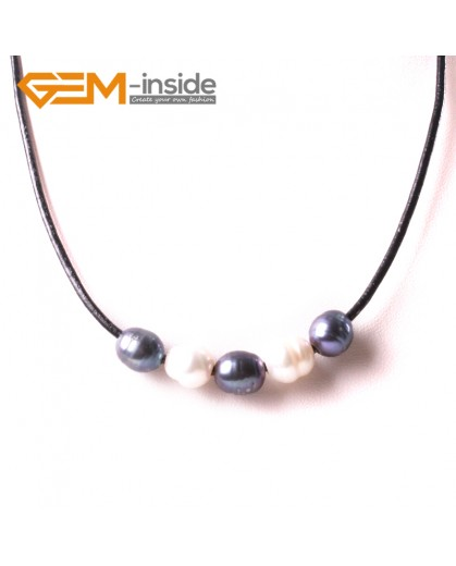 """G3720 9-10mmFashion Jewelry Lack Rope Necklace 5 Pearls Strand 17.5"""" Adjustable Size Necklaces Fashion Jewelry Jewellery"""