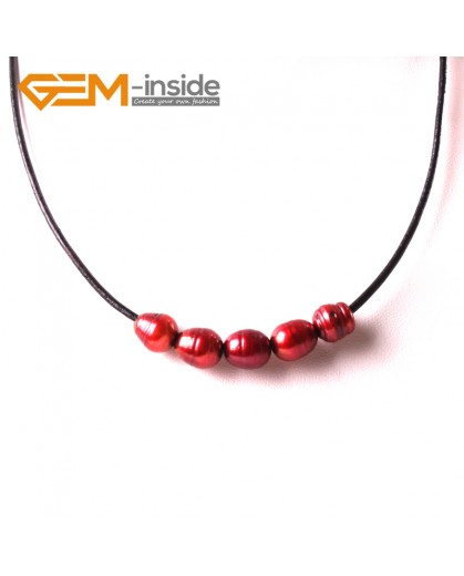 "G3721 9-10mm Fashion Jewelry Lack Rope Necklace 5 Pearls Strand 17.5"" Adjustable Size Necklaces Fashion Jewelry Jewellery"