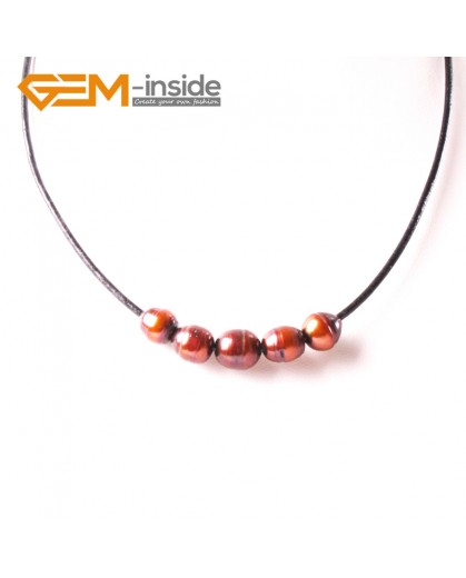 "G3722 9-10mmFashion Jewelry Lack Rope Necklace 5 Pearls Strand 17.5"" Adjustable Size Necklaces Fashion Jewelry Jewellery"
