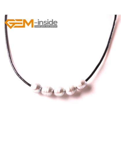 "G3723 9-10mm Fashion Jewelry Lack Rope Necklace 5 Pearls Strand 17.5"" Adjustable Size  Necklaces Fashion Jewelry Jewellery"