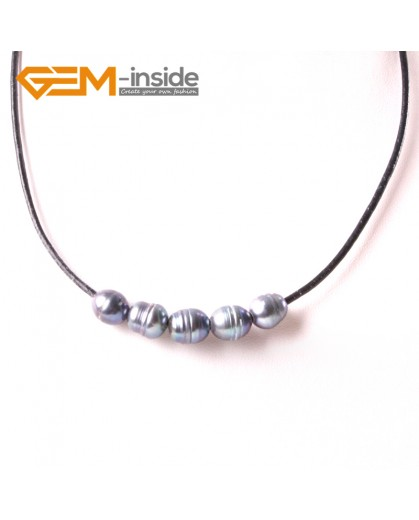 "G3724 9-10mmFashion Jewelry Lack Rope Necklace 5 Pearls Strand 17.5"" Adjustable Size Necklaces Fashion Jewelry Jewellery"