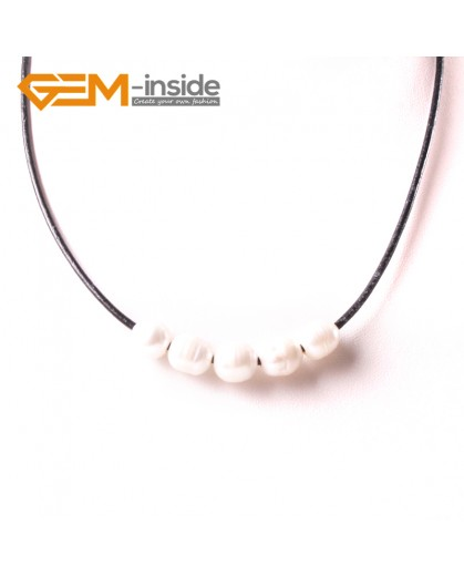 "G3725 9-10mmFashion Jewelry Lack Rope Necklace 5 Pearls Strand 17.5"" Adjustable Size Necklaces Fashion Jewelry Jewellery"