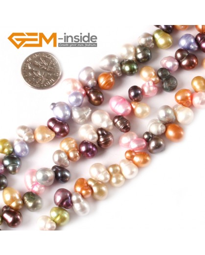 "G3834 6-7x8-9mm Beautiful multi-color peanut freshwater pearl jewelry making beads 15"" Natural Stone Beads for Jewelry Making Wholesale"