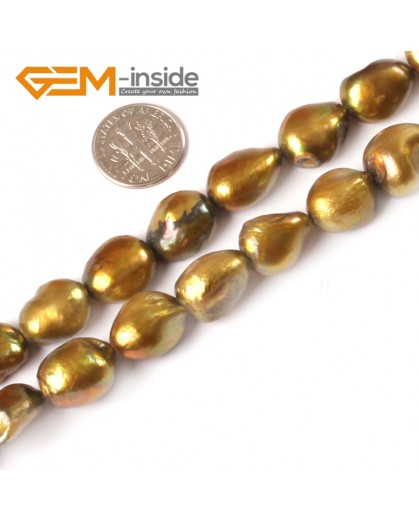 "G3973 Brown G-Beads 11-12x15-16mm freeform brown rust freshwater pearl jewelry making15"" Natural Stone Beads for Jewelry Making Wholesale"