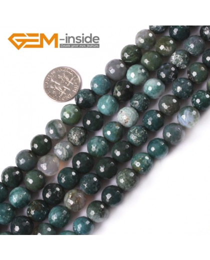 "G4047 10mm Natural Round Faceted Green Moss Agate Stone DIY Jewelry Making Beads Strand 15"" Natural Stone Beads for Jewelry Making Wholesale"