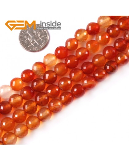"G4050 8mm Round Faceted Gemstone Natural Red Carnelian Agate Stone Beads Strand 15"" Natural Stone Beads for Jewelry Making Wholesale"