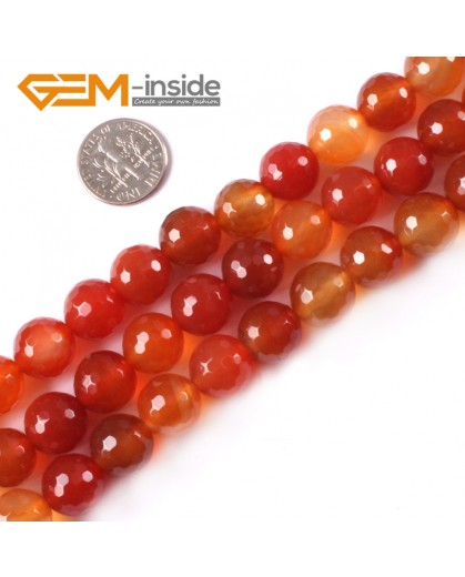 "G4052 12mm Round Faceted Gemstone Natural Red Carnelian Agate Stone Beads Strand 15"" Natural Stone Beads for Jewelry Making Wholesale"