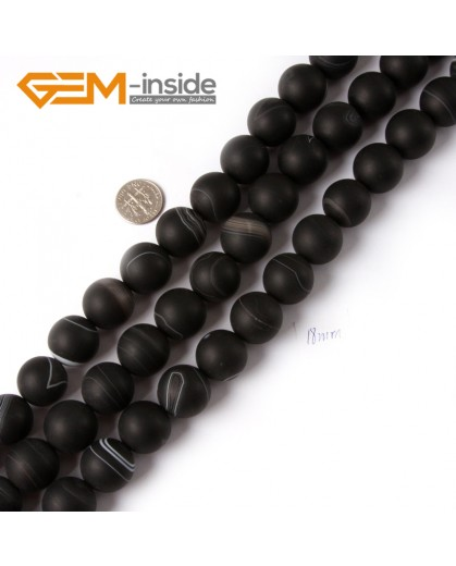 "G4215 18mm Round Frosted Black Sardonyx Agate Gemstone Loose Beads Strand 15"" Natural Stone Beads for Jewelry Making Wholesale"