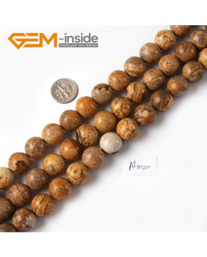 "G4256 14mm Yellow Brown Natural Round Picture Jasper Stone Beads Strand 15"" Natural Stone Beads for Jewelry Making Wholesale"