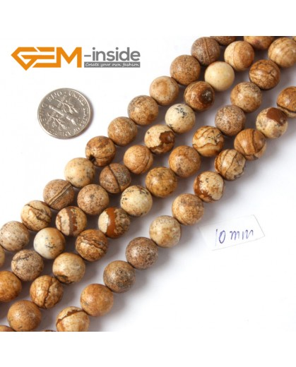 "G4258 10mm Natural Round Gemstone Picture Jasper Jewelry Making Loose Beads Strand 15"" Natural Stone Beads for Jewelry Making Wholesale"
